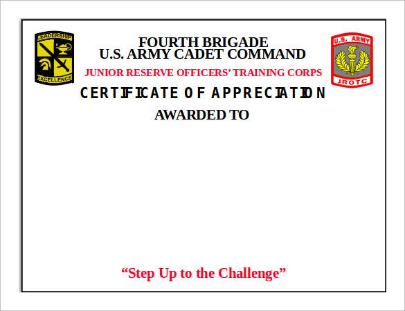 brigade certificate of appreciation