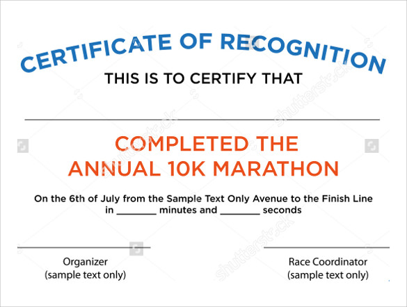 simple certificate of recognition