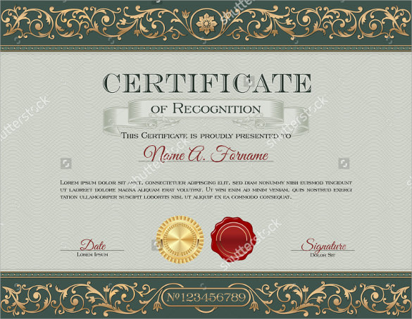 certificate of recognition to print