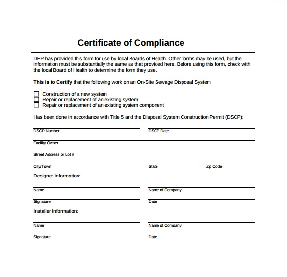 Sample Certificate of Compliance 12 Documents in PDF – Certificate of Conformance Template