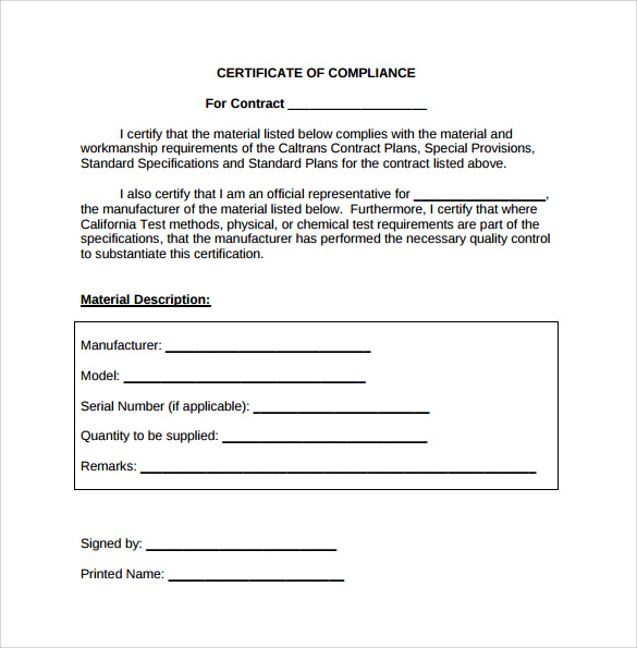 13 certificate of compliance samples sample templates for Certificate of conformance template