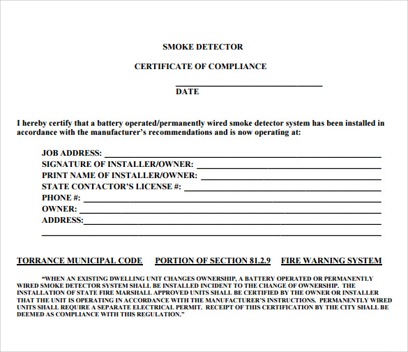 certificate of compliance to print