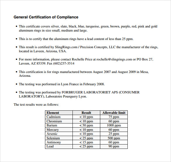 certificate of compliance free