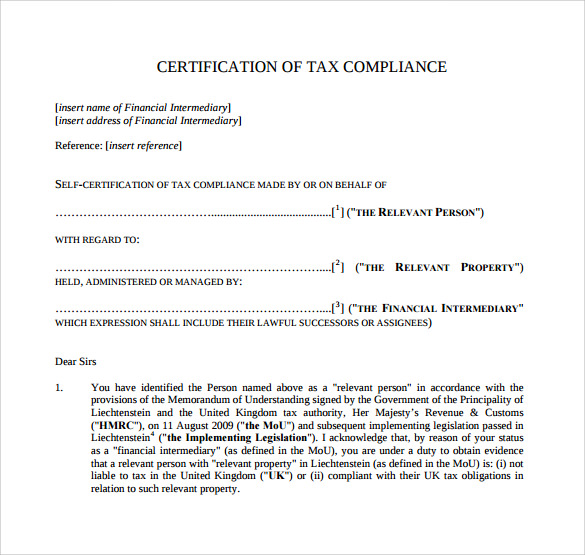 Sample Certificate of Compliance - 16+ Documents in PDF, PSD