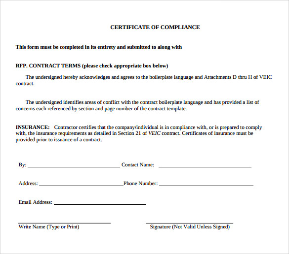 Sample Certificate Of Compliance - 12+ Documents In Pdf