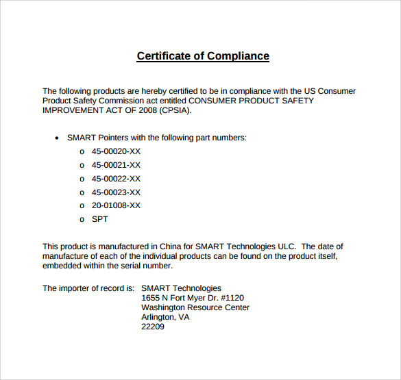 Sample Certificate Of Compliance Template 15 Free