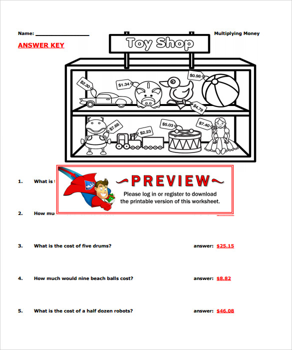 multiplying money worksheets format