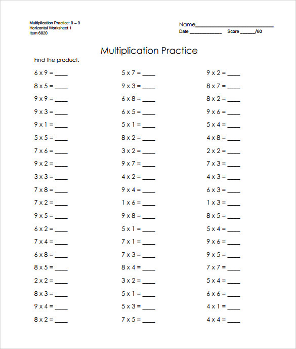 Sample Horizontal Multiplication Facts Worksheet   Documents In Pdf