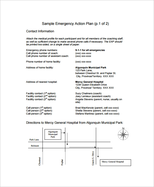 Sample Emergency Action Plan   Free Documents In Word Pdf