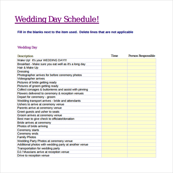 Sample wedding schedule 9 documents in pdf wedding day schedule pdf pronofoot35fo Images