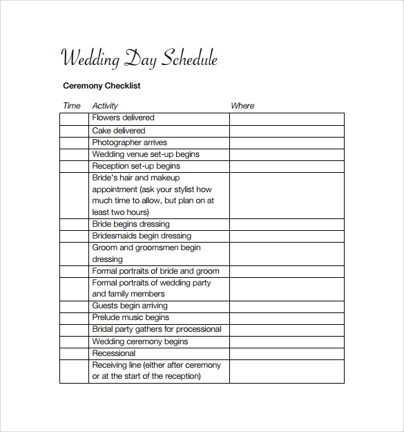 Sample wedding schedule template 11 documents in pdf for Wedding day schedule of events template