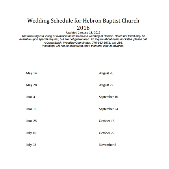 wedding schedule for baptist church