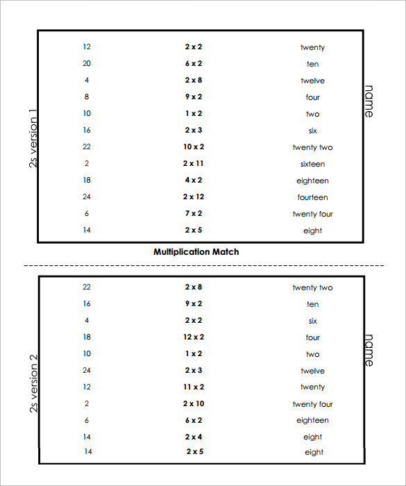 Sample Vertical Multiplication Facts Worksheet   Documents In Pdf