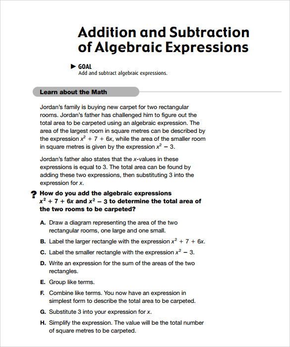 Sample Algebraic Subtraction Worksheet   Documents In Pdf