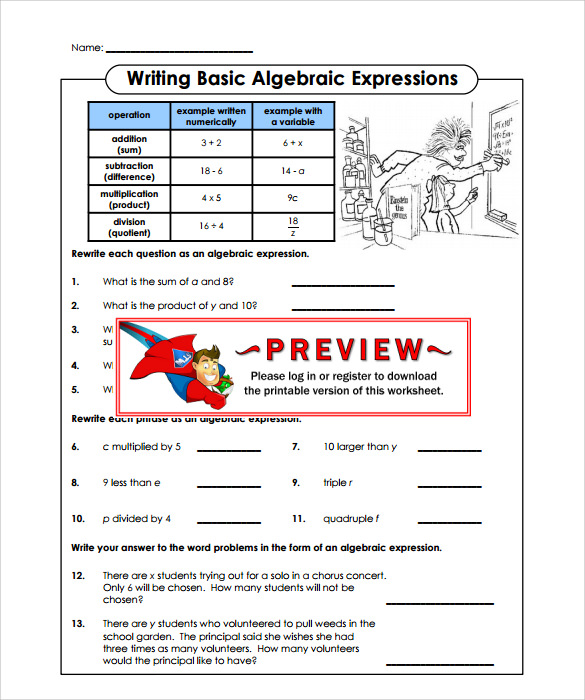 algebraic subtraction worksheets example
