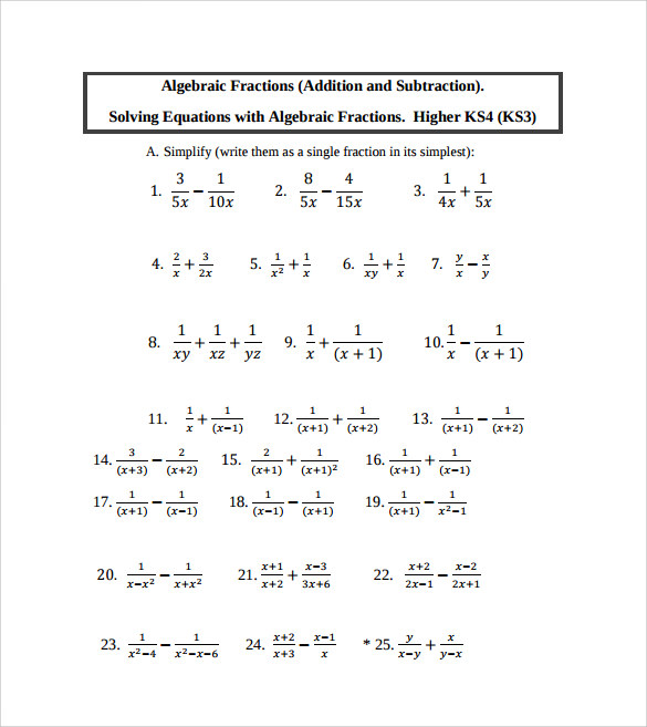 Sample Algebraic Subtraction Worksheet - 9+ Documents In Pdf