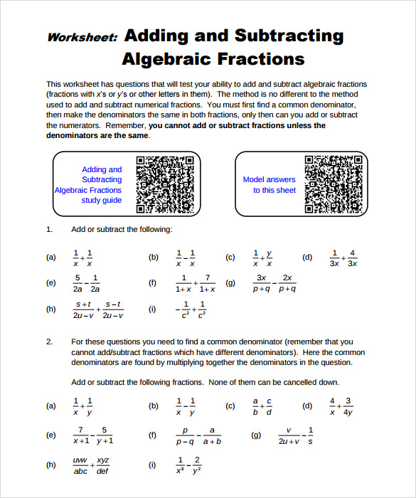 free pdf algebraic subtraction worksheet