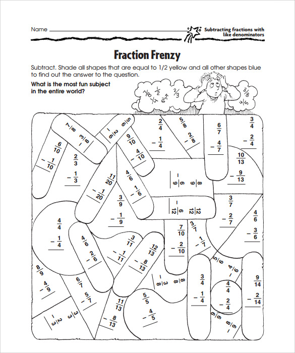 sample subtraction frenzy worksheets