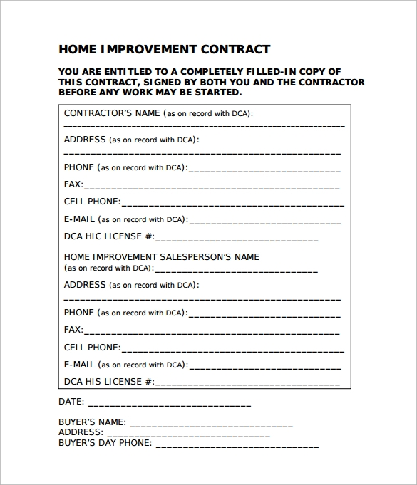 Home Remodeling Contract   Download Free Documents In Pdf