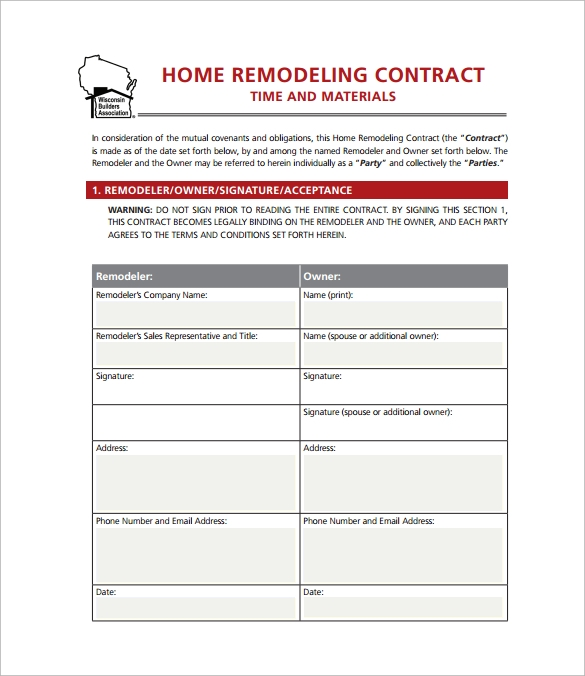 Home Remodeling Contract - 10+ Download Free Documents In Pdf
