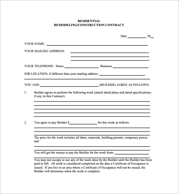 Doc585600 Construction Contract Template Free Construction – Remodeling Contract Template Sample