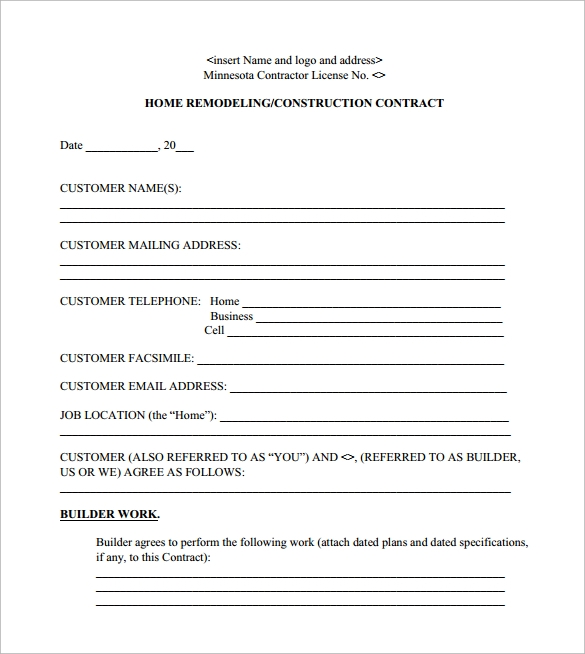 Remodeling Contract Template - 8+ Download Free Documents In Pdf