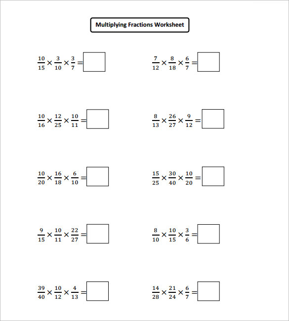 Sample Multiplying Fractions Worksheet   Free Documents In Pdf