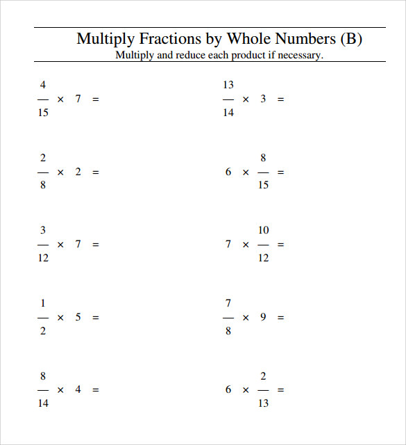 math worksheet : sample multiplying fractions worksheet 14  free documents in pdf  : Multiplication Fraction Worksheets