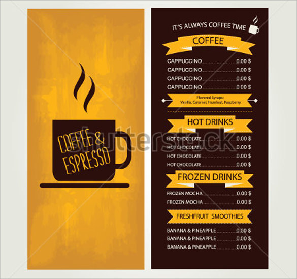 Sample Cafe Menu Template - 18 + Download Documents In Vector Eps, Psd