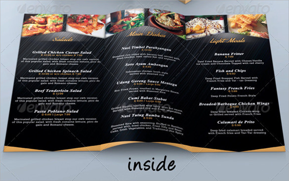 trifold restaurant cafe menu template