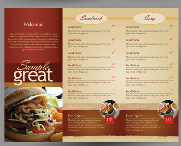 cafe take out menu template