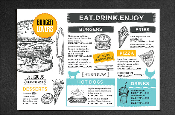 burger menu cafe template