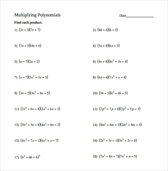 Sample Algebraic Multiplication Worksheet   Documents In Pdf