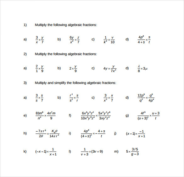 Sample Algebraic Multiplication Worksheet 10 Documents in PDF – Algebraic Expressions Worksheets
