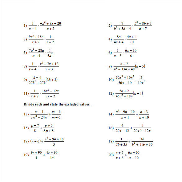 Worksheet #12241584: Algebra Multiplication and Division ...