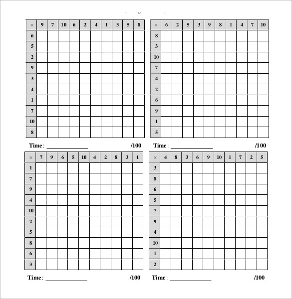 Multiplication Frenzy Worksheet Example