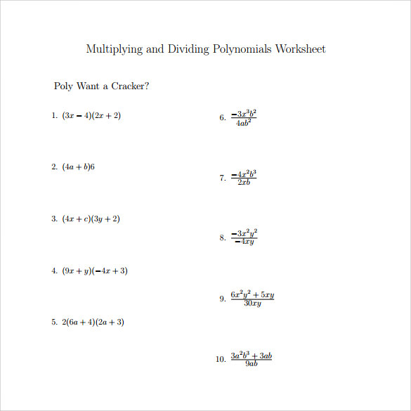 Algebra Multiplication And Division Worksheets algebraic – Synthetic Division Worksheets