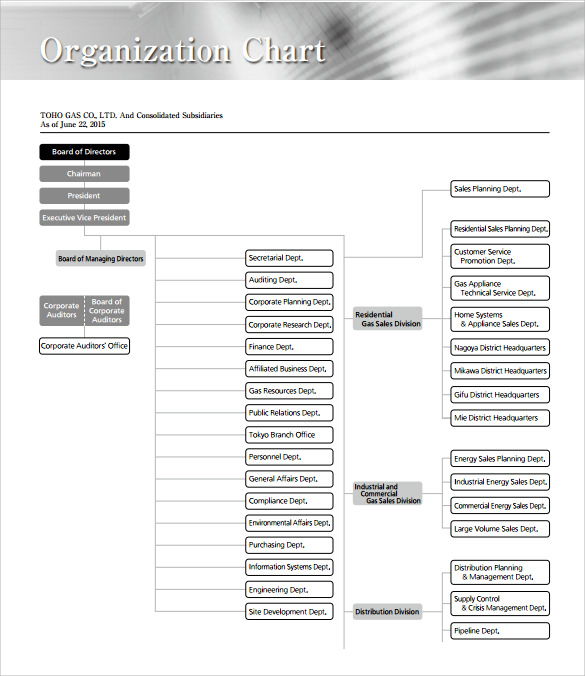 Business organization chart template militaryalicious sample business organizational chart 8 documents in pdf accmission Image collections
