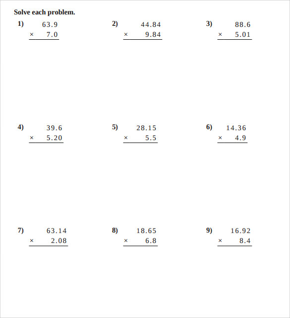 Sample Multiplying Decimals Vertical Worksheet 8 Free Documents – Decimals Worksheets Pdf