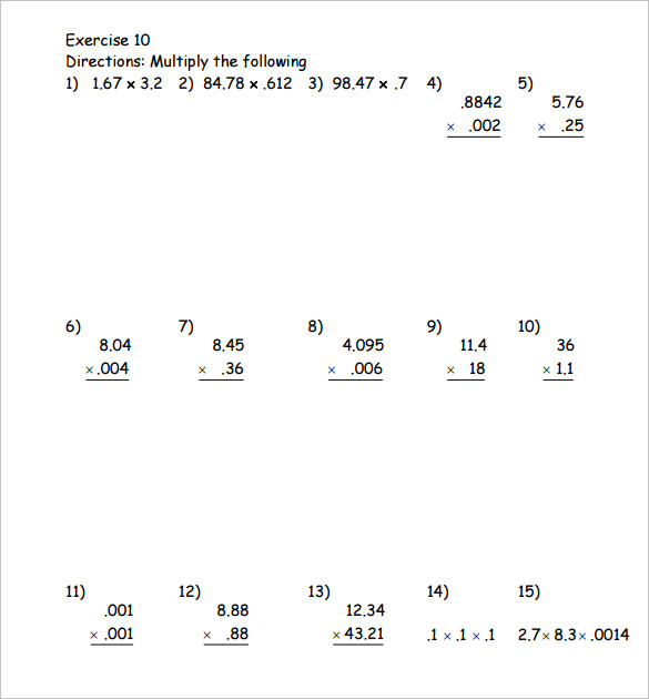 Sample Multiplying Decimals Vertical Worksheet 8 Free Documents – Worksheet Multiplying Decimals