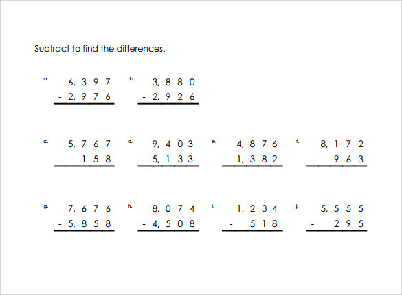 Sample Vertical Subtraction Worksheet - 12+ Documents In Pdf, Word
