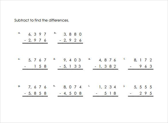 Sample Vertical Subtraction Worksheet 12 Documents in PDF Word – Vertical Subtraction Worksheet