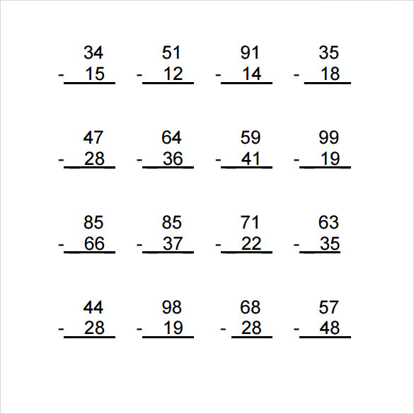 Sample Vertical Subtraction Worksheet   Documents In Pdf Word