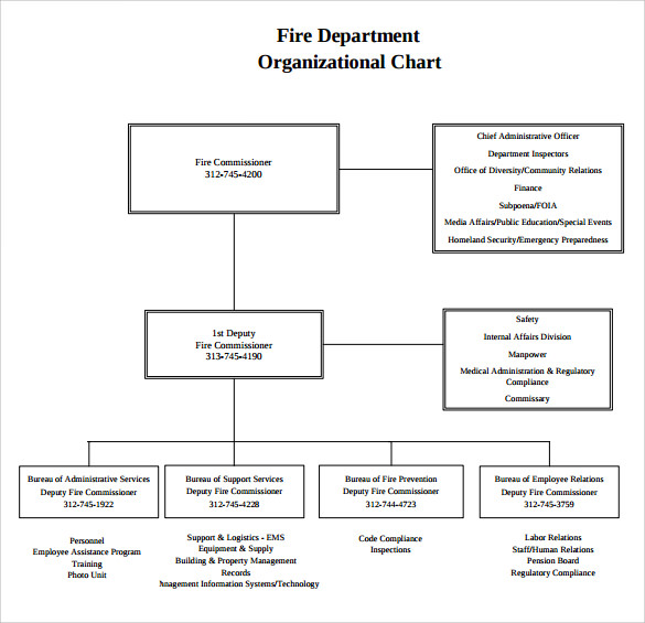 Sample Fire Department Organizational Chart 12 Documents in PDF – Blank Organizational Chart