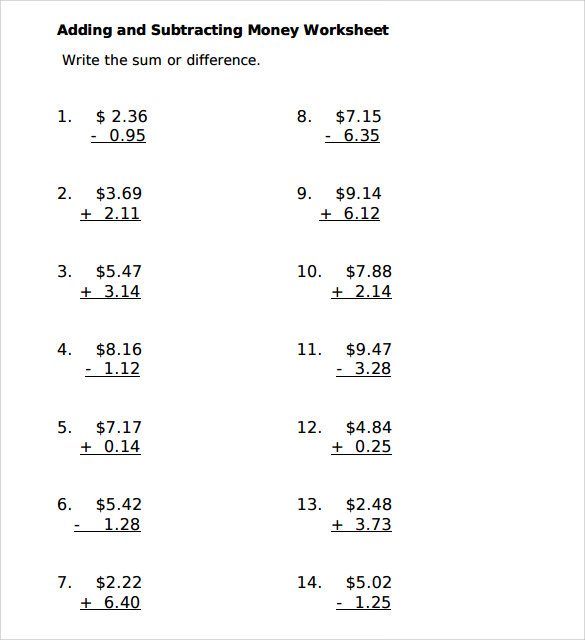 Sample Subtracting Money Worksheet - 5+ Documents in PDF