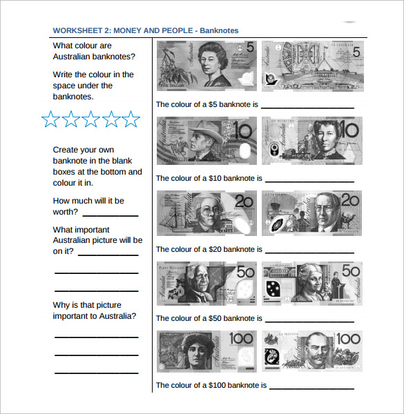 printable substracting money worksheet