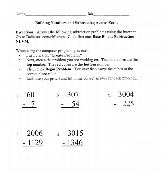 printable substract across zero worksheet
