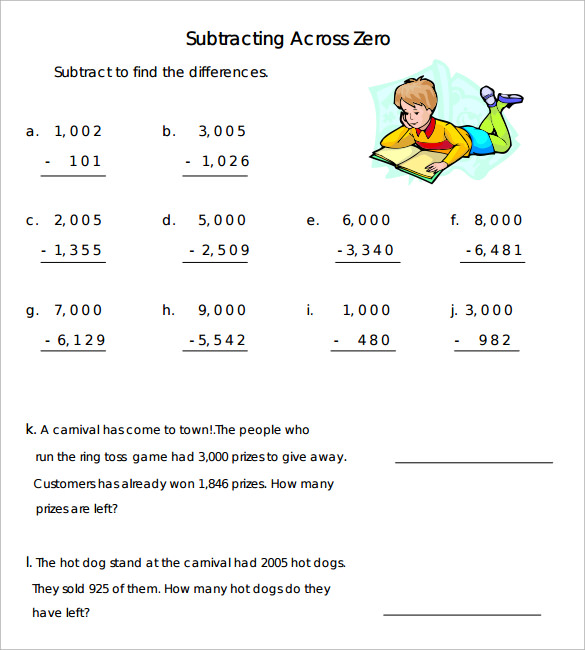 math worksheet : sample subtraction across zeros worksheet 10 documents in word pdf : Subtraction Across Zeros Worksheets