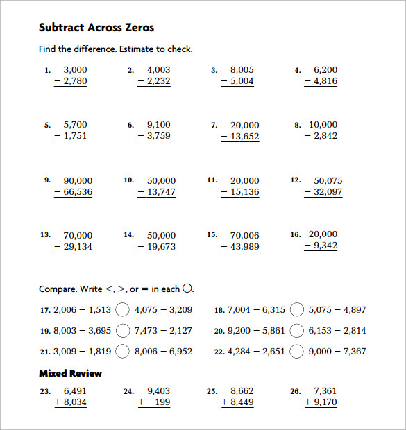 simple substract across zero worksheet