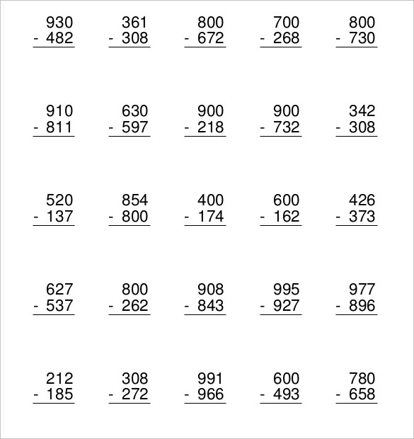 Sample Subtraction Across Zeros Worksheet- 10+ Documents ...